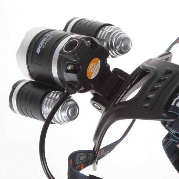 6000Lm CREE XML T6 + 2R5 LED Faro principale Lampada frontale Luce torcia 4 modalità + batteria 2x18650 + EU / US / AU / UK Caricabatteria da auto pesca