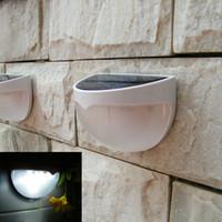 neue solar-led-leuchten großhandel-NEUE Ankunft 6 LEDs Sensor Solarbetriebene Außenleuchte LED Wandleuchte Gartenlampe ABS + PC Abdeckung Farbe Paket Home Stair Wasserdichte Lampe