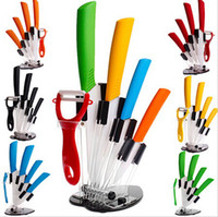 "Wholesale Ceramic Knives Sets - Home Kitchen Dining Bar Ceramic Knife and Accessories Set Paring Fruit Utility Chef 3"" 4"" 5"" 6"" inch with Peeler Acrylic Holder"