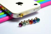 Wholesale Iphone5 Mobile Dust Plugs - Luxury Diamond Earphone Headphone anti Dust plug dust Cap for iphone4s for iphone5 5s for 3.5mm plug mobile phone