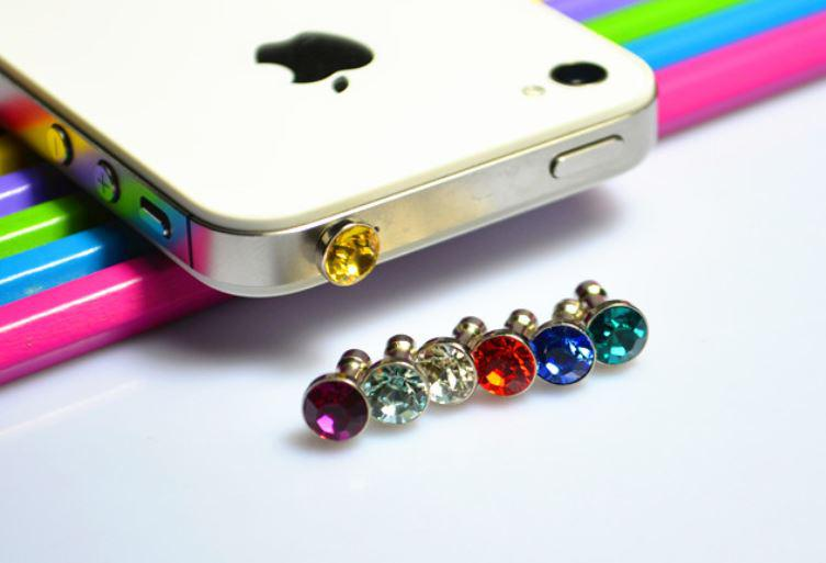Luxury Diamond Earphone Headphone anti Dust plug dust Cap for iphone4s for iphone5 5s for 3.5mm plug mobile phone