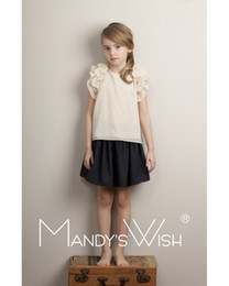 Wholesale Top Shirt For Kids Girl - New Fashion Girls Shirt falbala sleeve doll shirt For Girl Kids Pure Cotton Clothing Short Sleeve princess Tops Shirts A4650