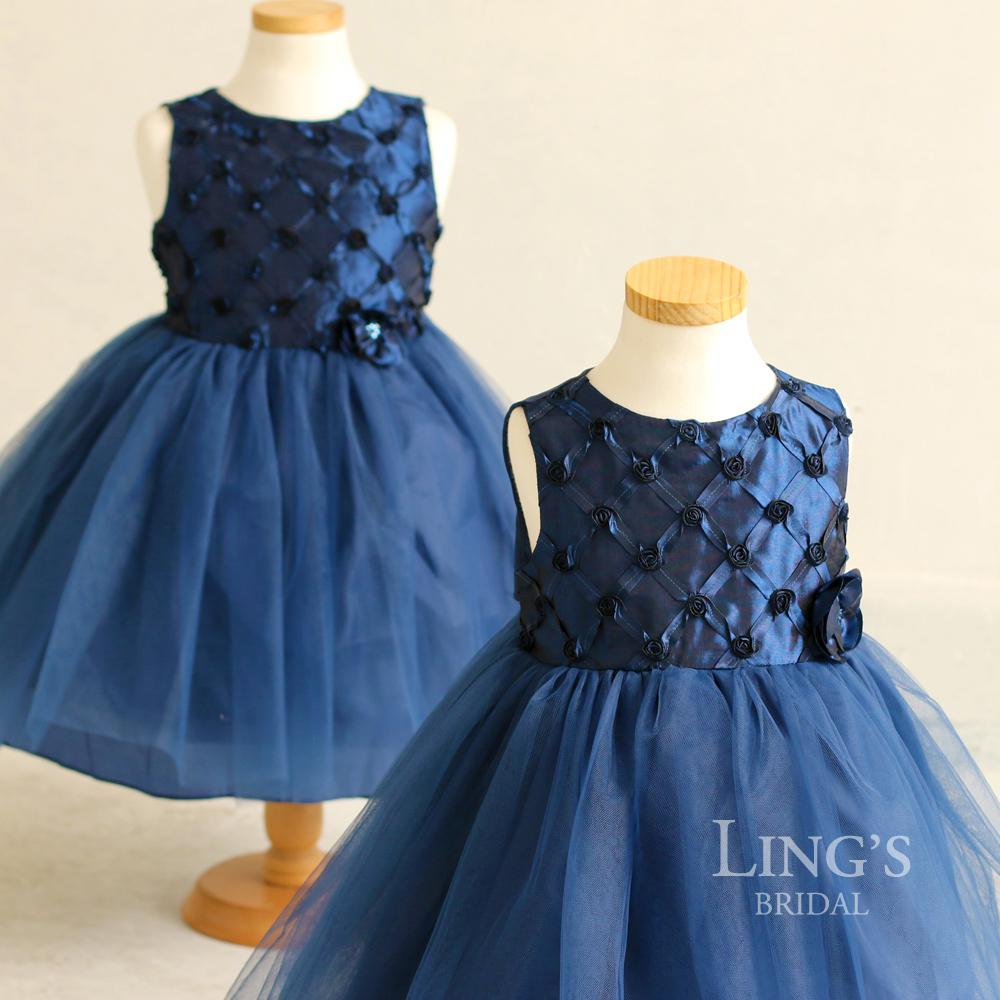 Ling\'S Wedding Dark Blue Baby Girl Dress Kids Princess Skirt ...