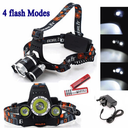 Wholesale Led Bike Cree 3x - Outdoor Sport lamp 3X CREE XML T6 LED Headlamp Headlight 4 Mode Head Lamp + AC Charger 2*18650 battery for bicycle bike light