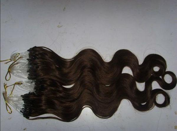 """Wholesale - 16""""- 24"""" 500s 0.5g /s #4 medium brown Loop/Micro Ring Hair Extension,100% Remy brazilian Human Hair Extensions body wave"""