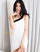 Wholesale Wholesale One Shoulder Chiffon Dress - 719-15 vogue Sequins one shoulder dresses mini skirts