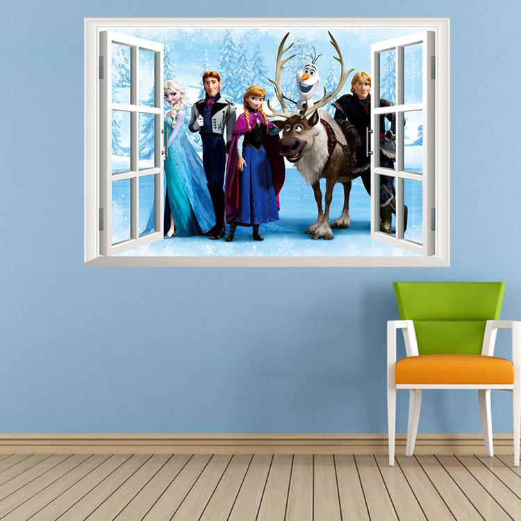 Cartoon Character Frozen Vinyl Wall Stickers Priness Anna Elsa - Vinyl wall decals removable
