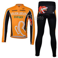Wholesale Euskaltel Team - Euskaltel Team Cycling Jersey Set High Performance Long Sleeve Anti Pilling Cycling Jersey Shirt and Pants Orange Bike Clothes