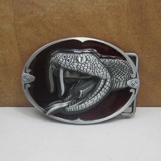 BuckleHome cobra hebilla de cinturón con esmalte rojo con acabado de peltre FP-02926-2 con stock continuo envío gratuito