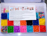 Wholesale Loom Rubber Band Kits - Free ship 1set loom storage box loom bands kit 4200pcs colorful rubber bands loom band set for bracelet bangle
