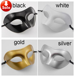 Men Half Face Masquerade Color Masks Canada - Man Masquerade Mask Fancy Dress Venetian Masks Masquerade Masks Plastic Half Face Mask Optional Multi-color (Black, White, Gold, Silver)
