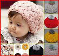 Wholesale Beret Toddler - 2016 New Fashion Baby Hat Crochet Hat Girls' Boys' Kids Cap Autumn Winter Beanie Infant Toddler Beret Earflap 10pcs Acceptlor Choose CoMelee