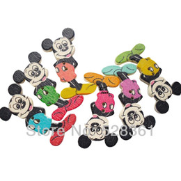 Wholesale Craft Wood Buttons Bulk - Bulk 100pcs lot Scrapbooking 35*23mm Wooden Button Mickey Mouse Buttons for Crafts Button Wood Kids Mixed Colors Sew Supply