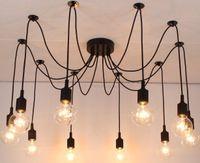 Wholesale Fluorescent Light Bulb Chandelier - New net Retro classic chandelier 10 E27 spider lamp pendant bulb holder group Edison diy lighting lamps lanterns accessories messenger wire