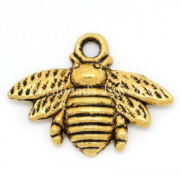 Charm Pendants Bee Gold Tone 21x16mm,50PCs (B28811)