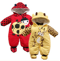 Wholesale cow pads - Wholesale-Cartoon animal style cotton-padded baby's romper baby Ladybug and cows warm jumpsuit autumn and winter clothing