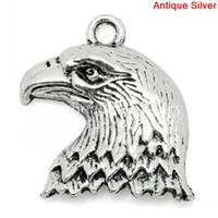 Wholesale Eagle Charm Antique - Charm Pendants Eagle Animal Antique Silver 22x19mm,50PCs (K03852)