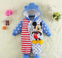 Wholesale Pink Ladybug - Wholesale-Winter baby clothes cotton-padded baby's romper baby Ladybug and cartoon warm jumpsuit 4p l