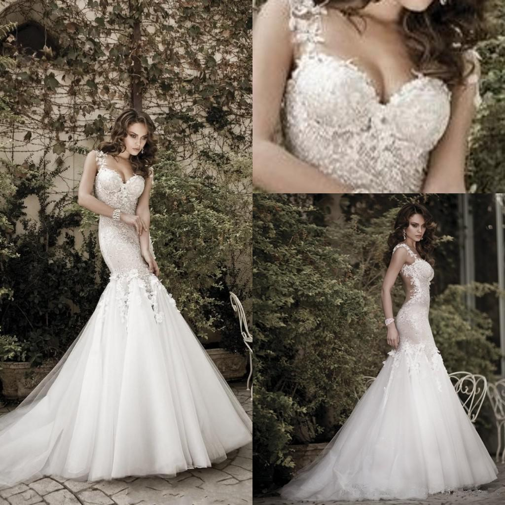 Backless Wedding Gowns For Sale: Hot Sale Sexy Mermaid Wedding Dresses Sheer Straps Slim