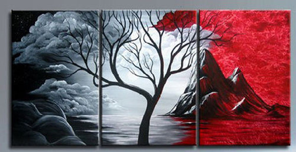 Black White Red tree high quality Wholesale wall pictures abstract landscape painting modern home decor wall Art Oil Painting Canvas gift