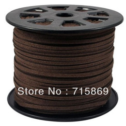 Wholesale Diy Leather Flat Cord - Free Shipping 100 Yard  Lot Jewelry DIY Brown 3mm x1.5mm ) Faux Suede Cord Lace Leather Cord Flat