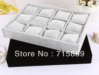 présentoir oreiller noir achat en gros de-Livraison gratuite 2 pcs 12 Bracelet en velours bijoux affichage oreillers bracelet / montre petit plateau de rangement gris et noir couleur