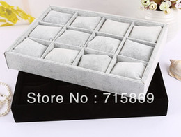 Wholesale Jewelry Display Gray Velvet - Free Ship 2pcs 12 Velvet Bracelet Jewelry Display Pillows Bangle  Watch Small Storage Tray Gray and Black Color