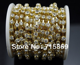 Wholesale Close Trimmer - 30 FEET 10 Yard SS12 3mm Clear Crystal Gold Plated Rhinestone Chain Trims Cup Crystal Rhinestone Close Cup Chain Clear Trim
