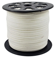 Wholesale Leather Meter Jewelry - White Color 92 Meters (100YARDS)Faux Suede Cord Leather Lace Jewelry Making Beading Thread- for necklace and bracelet Free Ship