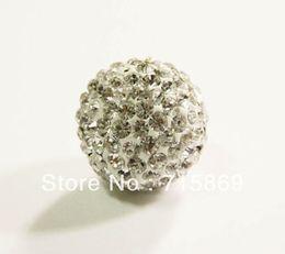 Wholesale Disco Ball Cz - Free Shipping 10pcs lot 20MM CZ Crystal Beads shamballa beads For Pave Disco Balls Fit Made Shamballa Bracelets White Color