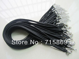Wholesale Wholesale Leather Suede Necklace Cords - Free Shipping Black 45+5cm 3mm Faux Suede leather cord Necklace chain with lobster clasps 3mm*1.5MM