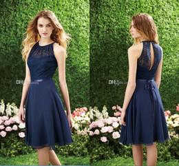 Wholesale Short Cutout Homecoming Dresses - Short Navy Blue Bridesmaid Dress Halter High Neck Cutout Back Lace Chiffon Bridesmaid Dresses Knee Length Cheap Homecoming Dress