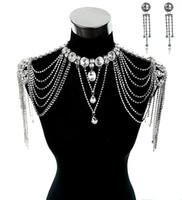 Wholesale epaulet crystal - Wedding Bridal Dresses Epaulet Jacket Crystal Rhinestone Silver Necklace Long Shoulder Long Full Body Chain Earrings Jewelry Set
