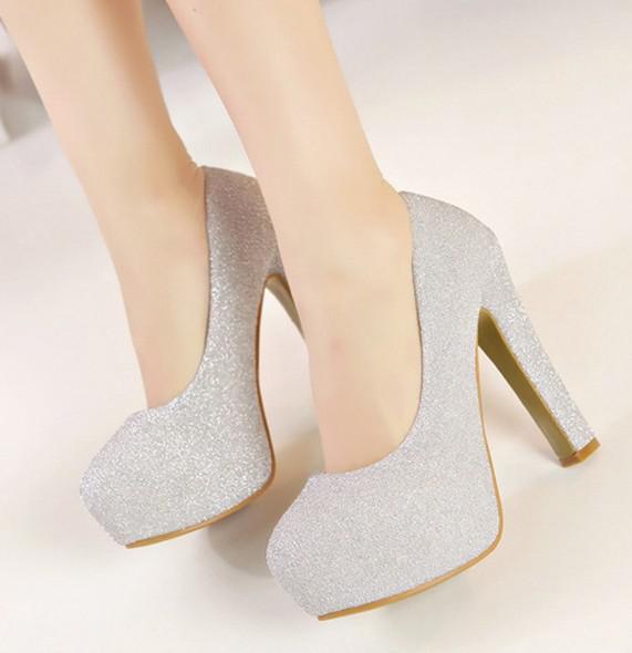 Thick Heel Silver Shoes Ha Heel
