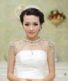 Boda Vestidos de novia Charretera Chaqueta de cristal Rhinestone Collar largo Hombro Largo Cuerpo completo Cadena Pendientes Conjunto de joyas desde fabricantes