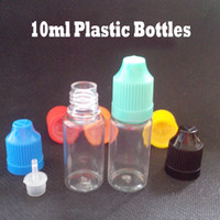 Wholesale E Ml - E Liquids Bottles 10 ml Dropper Bottle Plastic Bottles with Childproof caps And Long Thin Tip 4000pcs LOT Fedex Free Shipping