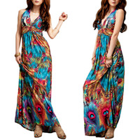 Wholesale Maxi Gown Halter Neck - S5Q Boho Women's Summer Evening Party Dress Halter V-Neck Long Beach Maxi Dress AAADSX