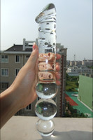 Wholesale glass dildo large - 2017 Super Big Glass Dildo Crystal Huge Anal Balls Butt Plug Long Pyrex Penis Unisex Large Glass Sex Toys for Couples