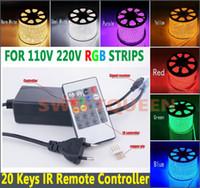 Wholesale High Voltage Rgb Controller - Free Shipping Infrared 20 Key RGB High Voltage LED Remote Controller For 220V   110V LED 5050 RGB Strip Light