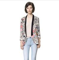 Wholesale Women Flower Blazer - New Women Vintage Flower Print Blazers & Jackets Fashion Floral Blazer Suits For Women Elegant Brand Basic Blaser Feminino,L0806