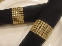"Wholesale Diamond Rings Decorations - 100 Pcs 1.5"" 8 Row Napkin Rings Gift Wrap Diamond Rhinestone Bow Covers Wedding Chair Sashes Bows"