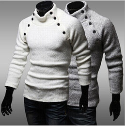 Wholesale Collar Designs Sweaters - autumn\winter new arrival Men's High collar design pullover sweater fashion business casual slim sweaters men free shipping