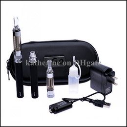 Wholesale Electronic Cigarette Case Charger - T3S Dual Electronic Cigarette Kits T3S Atomizer 650mah 900mah 1100mah Battery in a Zipper Case with EU AU UK US Wall Charger