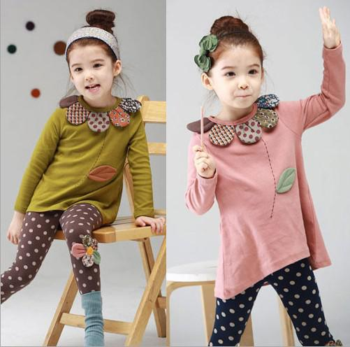 Autumn Girl Clothes Dress + Leggings 2pcs Children Suit Pure Cotton Flower Necklace Pink And Green Colour Fit Small Kids Set 80-110 WD56