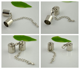 Wholesale Ends Buckle Cap - DIY ( Inside 9mm Diameter ) Silver Tone Round Leather Cord Ends Cap With Lobster Clasp Buckle and Extender Finding 100set