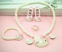 merhaba kristal set toptan satış-Kristal Hello Kitty Çocuk Takı Seti tokalar 7 karikatür çocuk giyim setleri takı hediye CSE0007