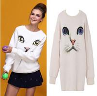 Wholesale oversized sweater free shipping - Free Shipping AA-998 O-Neck Pullover Hoodie Women Oversized free Size Harajuku Blue Eyes Cat Printed Long Sweater shirt