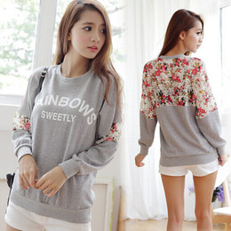 Wholesale Loose Cotton Tops For Women - Women Clothing Cotton Shirt Loose Tops Letter Lace Stitching Flower O-Neck Ladies Pretty Sweatshirt.Pullover For Women 2014 New