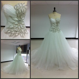 Wholesale Wedding Sequin Embellishment - Cathedral Wedding Dress 2015 Sweetheart Corset Pleats Ball Gowns with Long Tail Sequined A-Line Wedding Dresses with Beaded Embellishment