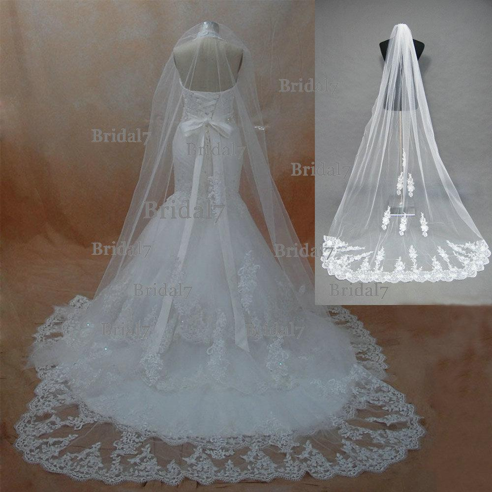 Wedding Veils Real 3 Meter Cathedral Lace Trimming Beaded Bridal Meters Veil One Layer